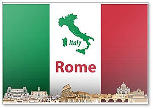 Kühlschrankmagnet mit Illustration der Skyline von Rom mit Flagge & Italienskarte