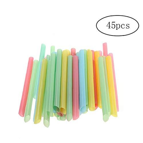 Feewerain Batido de pajas de Beber Jumbo Extra Ancho Grueso plástico Disponible Potable a Granel 45pcs Gigante Pajas (Color al Azar)