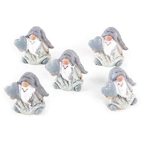 Logbuch-Verlag - Mini gnomo pequeño Blanco y Gris con corazón, 4 cm, niños, Clientes, Amigos, decoración de Navidad, 5 Unidades