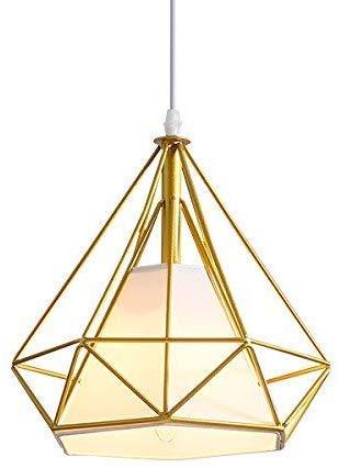 Lámpara de techo industrial retro de hierro con forma de diamante, pantalla de 25 cm, multicolor