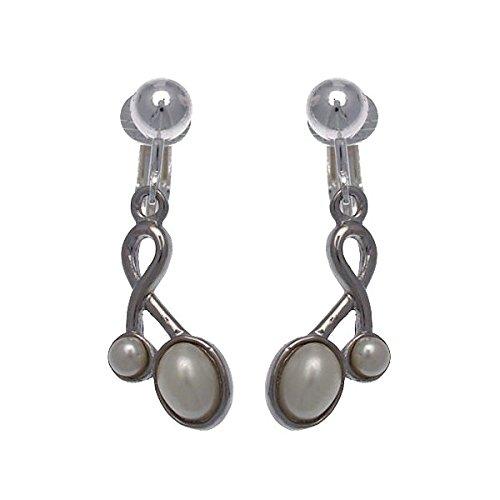 Keshia Silver tone White faux Pearl Clip On Earrings