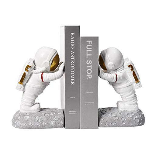 Kakizzy Astronaut Decorative Book Ends, Resin Bookends for Kids White Book End for Home Decorative Office Decor (Astronaut A-Gold)