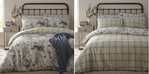 Portfolio Rabbit Meadow Duvet Cover Set Bedding, Sage Green, King