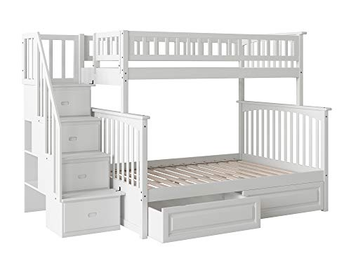 Big Sale Columbia Staircase Bunk with Raised Panel Bed Drawers White/Twin/Full
