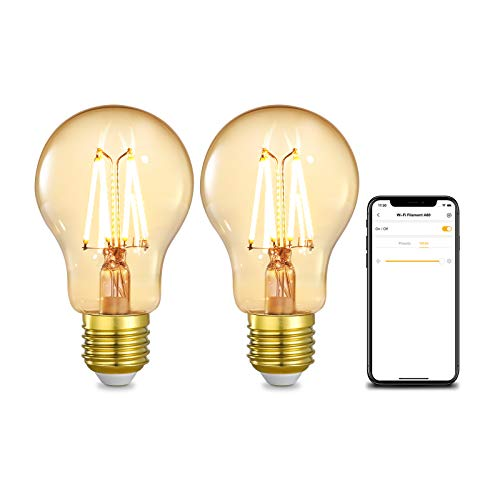 Linkind WiFi Smart Edison Bombilla de filamento, 4,5W regulable Vintage E27 A60...