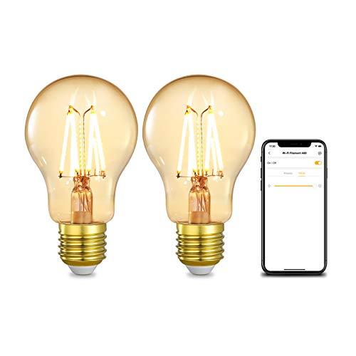 Linkind Smart WiFi Edison Vintage LED Lampe E27 4.5W 350lm A60, 40W Glühbirne ersetzt, 2200K Warmweiß Bulb, Retro Deko Birne dimmbar Leuchten(5%-100%), kompatibel mit Alexa und Google Home, 2er Set