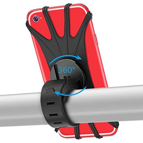 "PEYOU Soporte Movil Bici, 360° Rotación Soporte Movil Bicicleta Moto, Ajustable Universal Silicona Soporte, Compatible para iPhone X/XR/XS MAX, Compatible para Samsung Galaxy, Xiaomi, Huawei (4""-6.5"")"