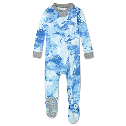 HonestBaby Organic Cotton Footed Sleep & Play Pajamas, Watercolor World, 0-3 Months