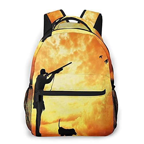 COVASA Mochila escolar de estilo informal,mochila de viaje,decoración de caza,majestuoso atardecer,cazado,mochila grande...