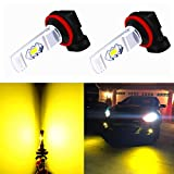 Alla Lighting 3800lm Xtreme Super Bright H11 H8 LED Fog Lights Bulbs 3000K Golden Yellow ETI 56-SMD 12V DRL Lamps Replacement H16