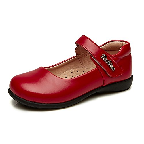Leather Mary Jane Flat Girl Casual Shoes Red,Big Kid Size 4