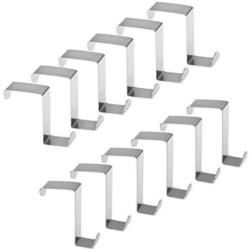 12pcs Over Door Hanger, BESTOMZ Stainless Steel Over Door Hooks Cabinet Draw Clothes Hanger New Jersey