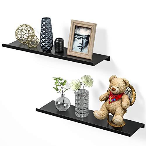 SRIWATANA Black Floating Shelves for Wall, Metal Wall Shelves Black Shelves for Bedroom, Living Room, Bathroom, Kitchen - Matte Black