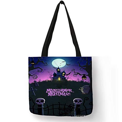 DASHUAI Bolso De Mujer Halloween Nightmare Pumpkin Scary Skull Tote Bag Lino Bolsos Ecológicos Bolsos Escolares Trabajo Portátil Niñas