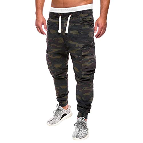 Cheapest Prices! Men's Camo Cargo Pants|Men Relaxed Fit Straight Leg Multi Pocket Ankle Length Trous...