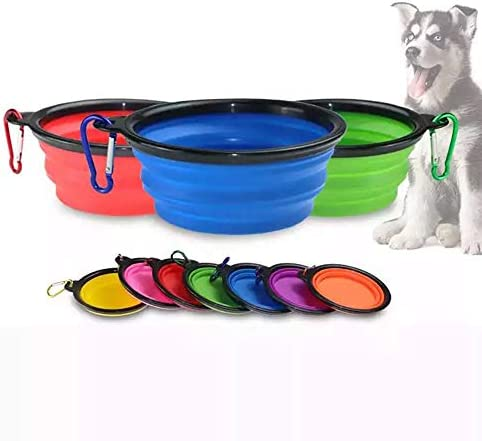Collapsible Dog Bowl Small Water Folding Portable Travel Foldable Silicone Collapsible Food product image