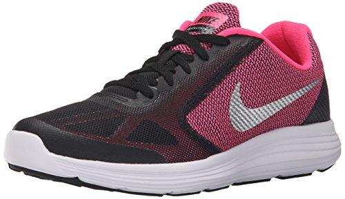 Nike Revolution 3 (Gs), Zapatillas de Running Niña, Negro (Black / Metallic Silver / Hyper Pink / White), 38.5 EU