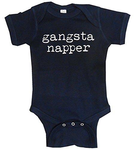 Strong Girl Clothing SGC Gangsta Napper Onesie Bodysuit Creeper (6 Month, Navy Blue)