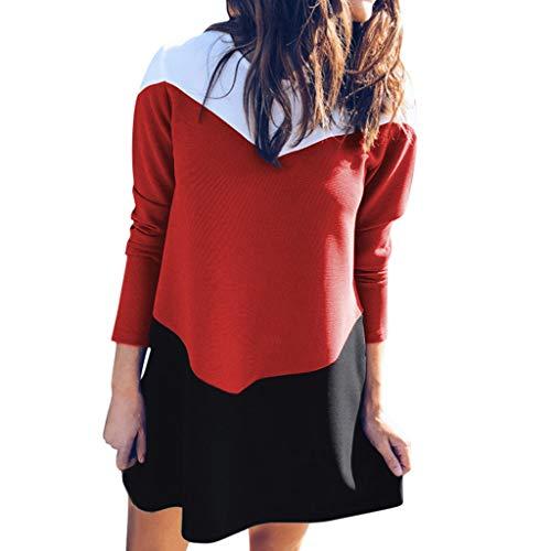 Damen Freizeit kleider,Langarm Loose Kleid blusenkleid Rundhals Langarm Colorblock Kleid Langärmliges farblich abgestimmtes Kleid S-XL