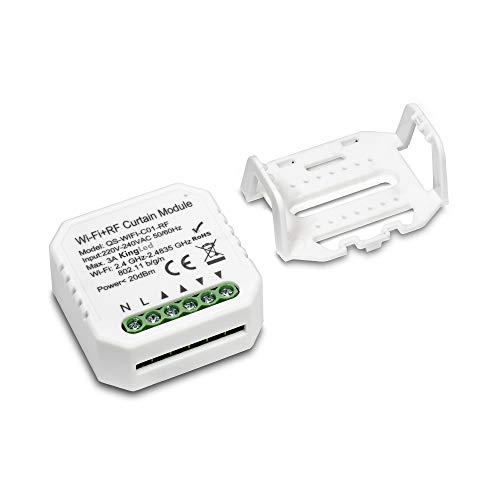 Kingled - Módulo de persiana WiFi + RF inteligente 220-240 V compatible con Alexa, Google, Smartphone, mandos a distancia RF y aplicación Tuya - Kiwi PRO