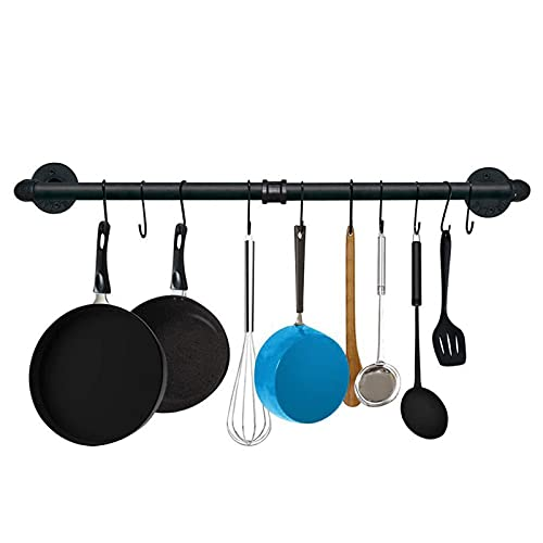 Tysun 47.4 Inch Industrial Pipe Pan Pot Rack Wall Mounted Iron Pipe Kitchen Hanging Rail Kitchen Utensil Cookware Holder Storage Organizer with 15 S Hooks