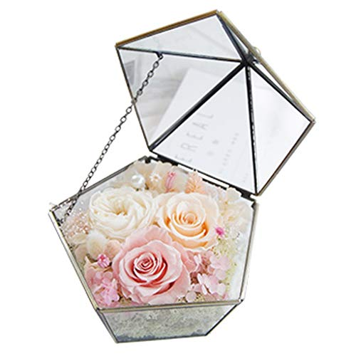 LZL Rosa preservada Pentagonal Flor Habitacin de Regalo de Regalo de Flores Caja de Regalo de Cristal Real Rosa Real Girlfriend Da de San Valentn Rosa eterna (Color : A)