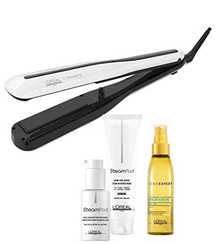 L'OREAL PROFESSIONNEL Steampod 3.0 Lisseur Vapeur Professionnel + Sérum Pointes + Crème Cheveux Épais + Soin-Spray Solar Sublime LPFA052001