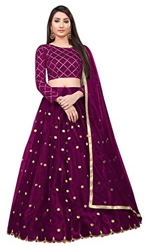 PATBRO Women's Net Semi-stitched Lehenga Choli (PAT001_Wine_Free Size)