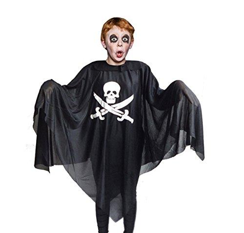 THE TWIDDLERS Cape de Halloween, Poncho Pirate - Kids Noir Cape de fantôme - Accessoire de Parfait pour Les Costumes de Pirate et Le déguisement (pour Toutes Les Tailles des Enfants)