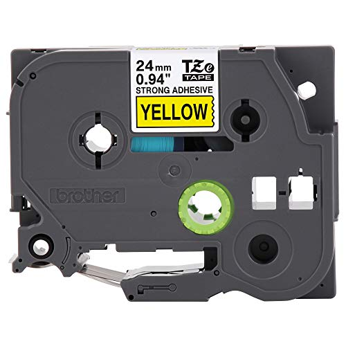 """Brother Genuine P-touch TZE-S651 Tape, 1"""" (0.94"""") Wide Extra-Strength Adhesive Laminated Tape, Black on Yellow, Laminated for Indoor or Outdoor Use, Water-Resistant,0.94"""" x 26.2' (24mm x 8M), TZES651"""