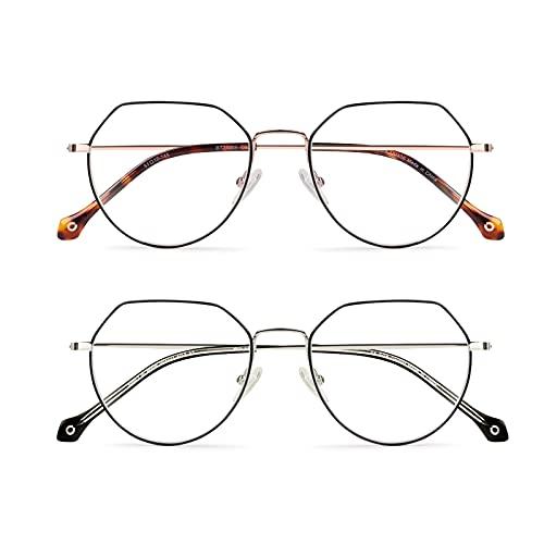 Baytion gafas anti luz azul, poligonales gafas para ordenador,Gafas de juego de lectura de pantalla de computadora de moda para hombres
