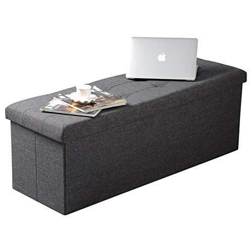 WOLTU Sitzhocker mit Stauraum Sitzbank Faltbar Truhen Aufbewahrungsbox, Deckel Abnehmbar, Gepolsterte Sitzfläche aus Leinen, 110×37,5×38 cm, Dunkelgrau, SH11dgr-1 - 2