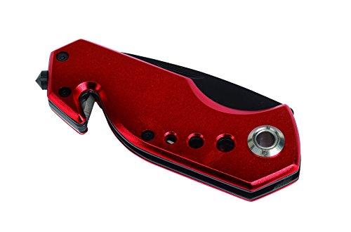 Unbekannt Taschenmesser mit Gurtschneider und Nothammer Plus Befestigungsclip Farbwahl (Rot)