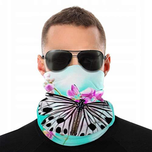 HJHJJ Stirnbänder für Männer Frauen Hals Gamasche, Gesichtsmaske, Stirnband, Schal Schließen Reis Papier Schmetterling auf rosa Turban Multi Schal doppelseitigen Druck Stirnband Sca