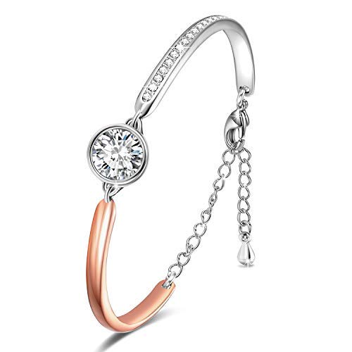 Angelady Pulseras ajustables para mujer Pulsera con brazalete de oro rosa Cristal de Swarovski, Día de San Valentín Regalo de cumpleaños para la madre novia