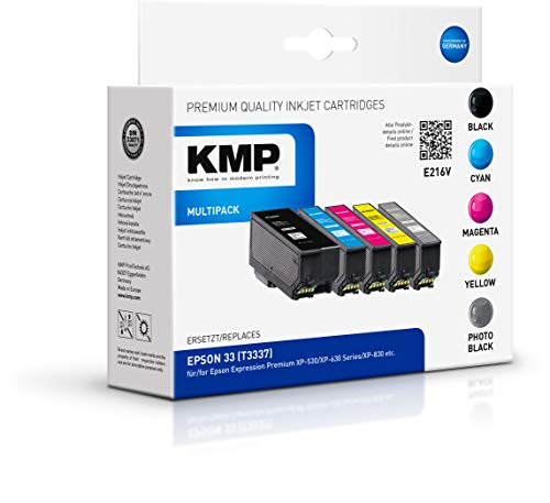 KMP 1633,4855 Multi-Pack (Schwarz, Gelb, Magenta, Cyan) Remanufactured Tintenpatronen 5er Pack