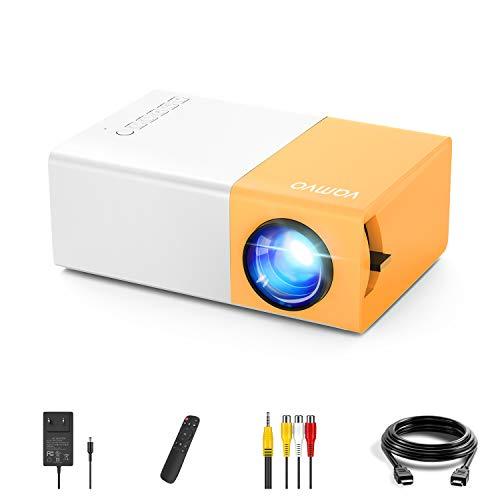 Mini Proiettore, Vamvo Proiettore Portatile YG300 pro, Videoproiettore di Film 1080p Supportato, Ideale per Regalo Bambini, Regalo di Natale, Ricaricabile, Compatibile con Smartphone/USB/HDMI/SD/AV