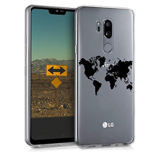 kwmobile Funda Compatible con LG G7 ThinQ/Fit/One - Carcasa de TPU y Mapa del Mundo en Negro/Transparente