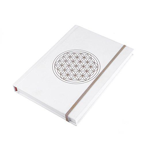 Blume des Lebens Notizbuch, DIN A5, gebunden, 216 Seiten + 10 Aufkleber Blume des Lebens