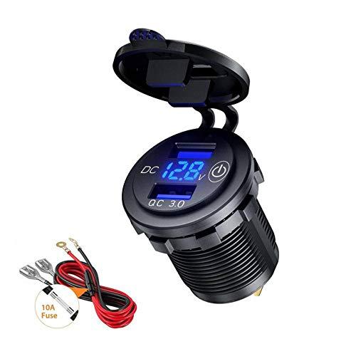 Thlevel Chargeur de Voiture USB Double Port de Adaptateur Charge QC 3.0 Rapide 5V 6A 30W avec Voltmètre Numérique LED und Interrupteur Tactile pour 12V - 24V Bateau Moto ATV Bus Camion SUV