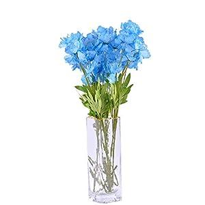 "cn-Knight Artificial Azalea Flower 10pcs 23"" Long Stem Faux Rhododendron with 4 Blossoms for Home Decor Centerpiece Housewarming Wedding DIY Bridal Bouquet(Blue)"