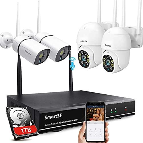 SmartSF Kit Videosorveglianza WiFi, 8CH 3MP NVR e 4x 3.0MP Telecamere da Esterno Wifi Con Visione notturna a colori,Audio bidirezionale, Accesso remoto e rilevamento movimento-1TB HDD