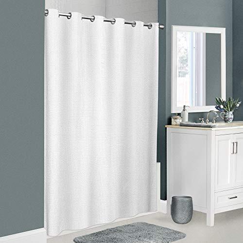 Zenna Home InstaCurtain Norwalk Seersucker Fabric Shower Curtain, 70 inches x 74 inches, White