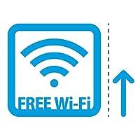 フリーワイファイ シール ステッカー FREE Wi-Fi 案内(矢印付き) マークのカッティングステッカー 光沢タイプ・防水・耐水・屋外耐候3~4年【クリックポストにて発送】 (青, 150mm)