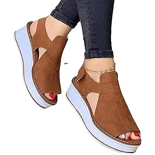 Sandalias y Zapatos para Mujer Sandalia con Pulsera Plataforma de Cuña de Verano Zapatos de Playa de Punta Abierta de Gamuza Cómodos Casuales