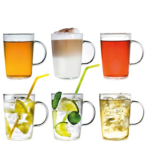 Creano 6er-Set Design Gläser, Becher mit Henkel für Kaffee, Tee und alle Kaltgetränke | 400ml im Geschenkkarton