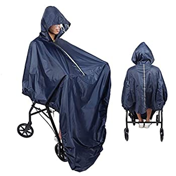Canyita Wheelchair Poncho Ultralight Waterproof Wheelchair Rain Cover Raincoat with Hood Wheelchair Rain Poncho for The Elderly Waterproof Raincoat with PVC Layer