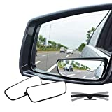 Ampper Rectangle Blind Spot Mirror, 360 Degree HD Glass and ABS Housing Convex Wide Angle Rearview Mirror for Universal...