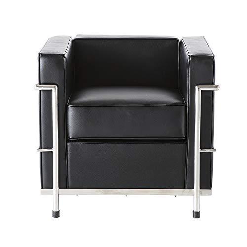 WFIZNB Sofá Individual, sofá de Cuero, sillón, sofá de 1 Plaza, reclinable, Conjunto de sofás de salón, sillón para Sala de Estar, Oficina, Sala de Estudio u Otra habitación (1 Plaza-Negro)
