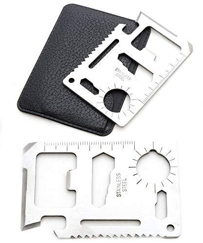 Tang Yuan 2 Kartenwerkzeuge,Kreditkarten-Multifunktionswerkzeuge,Taschen,Brieftaschenwerkzeuge, Schlüsselbundwerkzeuge,mit Schutzhülle,lebensrettende Werkzeuge für den Außenbereich,Sägen, Lineale